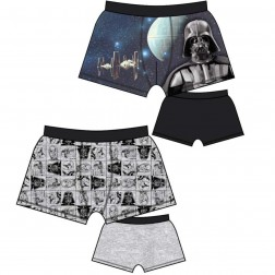 Mens Star Wars Trunks (2 Pack) - Black/Grey