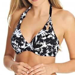 Freya Palm Haze Banded Halter Bikini Top - Monochrome