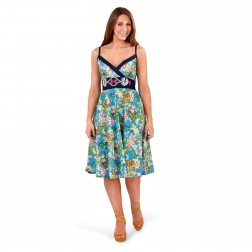 Pistachio Floral Crossover Dress - Blue/Navy