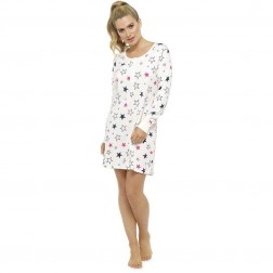 Ladies Long Sleeve Nightie - White/Star Print