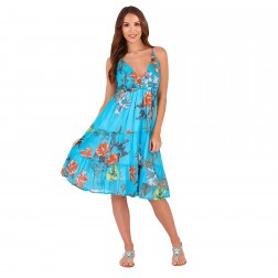 Pistachio Floral Print Crossover Dress - Turquoise