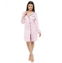 Ladies Jersey Button Through Nightshirt - Pink