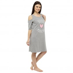 3/4 Sleeve Cold Shoulder 'Good Morning' Nightie - Grey