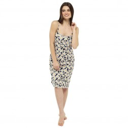 Ladies Daisy Print Chemise - Black