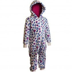 Cozy 'n' Dozy Heart Print Fleece Onesie - Cream