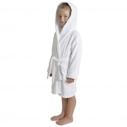 Kids Hooded Towelling Robe - White