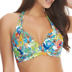Freya Island Girl Banded Halter Bikini Top - Tropical