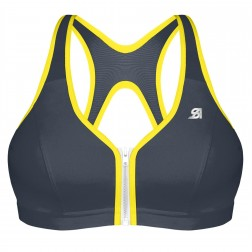 Shock Absorber Active Zipped Plunge Sports Bra - Grey/Yellow