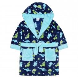 Kids Dinosaur Print Fleece Robe - Blue