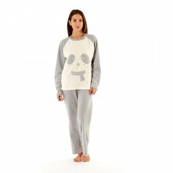 Selena Secrets Ladies Bear With Scarf Fleece Pyjama Set - Grey