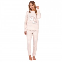 Loungeable Boutique Ladies Unicorn Motif Fleece Pyjama Set - Peach