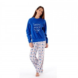 Ladies Snow Much Fun/Fairisle Fleece Pyjama Set - Winter White