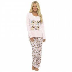 Foxbury Pug Dog Print Pyjama Set - Pink
