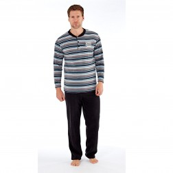 Harvey James Mens Button Collar Stripe Fleece Pyjamas - Grey Stripe
