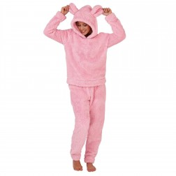 Loungeable Boutique Ladies Sherpa Fleece Mouse Twosie - Pink