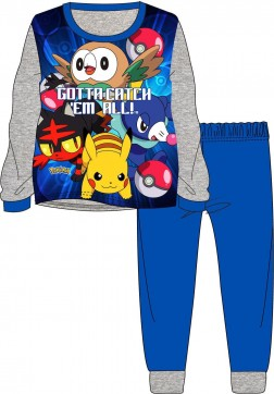 Boys Pokemon 'Gotta Catch 'Em All' Pyjamas - Grey/Blue