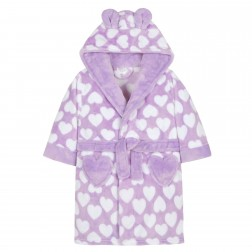 Kids Heart Print Fleece Robe - Lilac