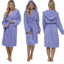 Tom Franks Cotton Hooded Towelling Robe - Lilac