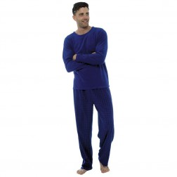 Foxbury Mens Fleece Pyjama Set - Navy Check