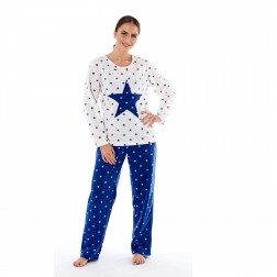 Selena Secrets Ladies Star Applique Fleece Pyjama Set - White