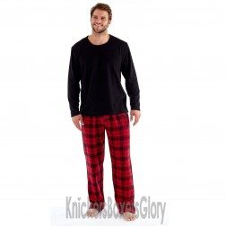 Harvey James Mens Fleece/Flannel Pyjamas - Red/Black