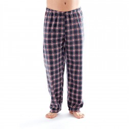 Harvey James Mens Check Fleece Lounge Pants - Grey
