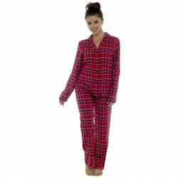 Ladies Brushed Cotton Check Pyjamas - Red/Navy