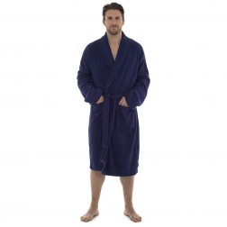 Tom Franks Cotton Towelling Robe - Navy