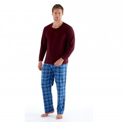 Harvey James Men's Fleece/Flannel Pyjamas - Burgundy/Blue Check