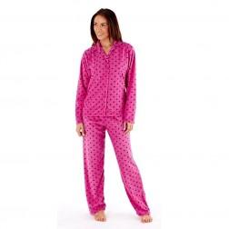 Selena Secrets Ladies Fleece Pyjama Set - Flamingo