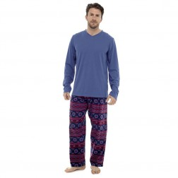Tom Franks Mens Fairisle Fleece Pyjamas - Blue/Red