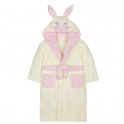 Kids Novelty Bunny Rabbit Fleece Robe - Cream