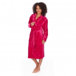 Forever Dreaming Shawl Collar Fleece Robe - Hot Pink