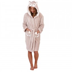Loungeable Boutique Squirrel Hooded Robe - Beige