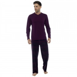 Foxbury Mens Jersey/Fleece Fairisle Pyjama Set - Wine