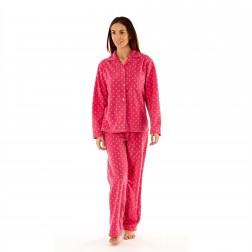 Selena Secrets Ladies Star Button Front Fleece Pyjama Set - Pink