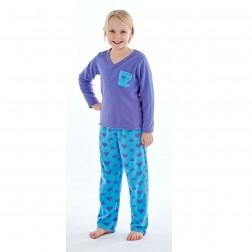 Selena Girl Heart Print Fleece Pyjamas - Purple/Blue