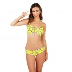 Boutique Lemon Print Bikini Set