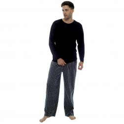 Foxbury Mens Fleece Pyjama Set - Black Check