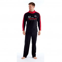 Harvey James Mens 'Ocean Spirit' Zip Loungewear Set - Black/Red