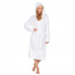 Forever Dreaming Cotton Hooded Towelling Robe - White