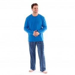 Harvey James Mens Fleece Pyjamas - Blue