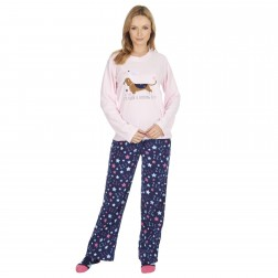 Forever Dreaming Ladies Dachshund Fleece Pyjamas - Pink