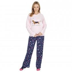 Forever Dreaming Ladies Dachshund Fleece Pyjamas - Pink
