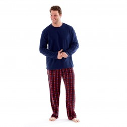 Harvey James Mens Fleece Pyjamas - Red