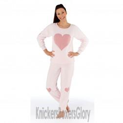 Selena Secrets Heart Sherpa Fleece Twosie Pyjamas - Pink
