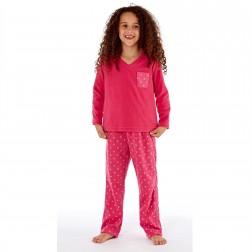 Selena Girl Star Print Fleece Pyjamas - Pink