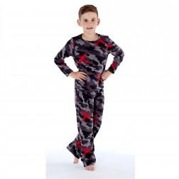 One 07 Boys Army/Camo Print Pyjamas - Grey