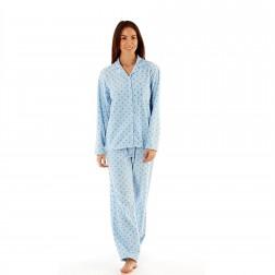 Selena Secrets Ladies Star Button Front Fleece Pyjama Set - Blue