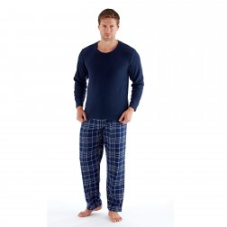 Harvey James Men's Fleece/Flannel Pyjamas - Navy Check